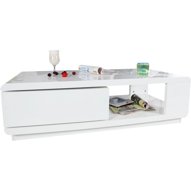 COMFORIUM Table basse design en contreplaqué coloris blanc laqué