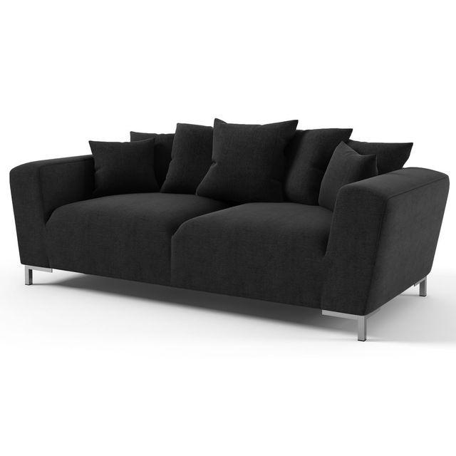HABITAT ET JARDIN Canapé fixe tissu Alto - 3 places - Noir