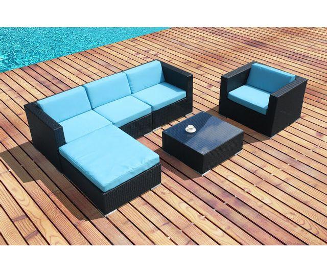 Design et Prix - Magnifique salon de jardin en resine tressee bleu ...