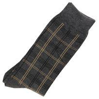 Marque Generique - Modebas.fr - Pack de 2 Paires Chaussettes Carreaux Homme Classique Coton Gris Anthracite 43-45 - Gris anthracite