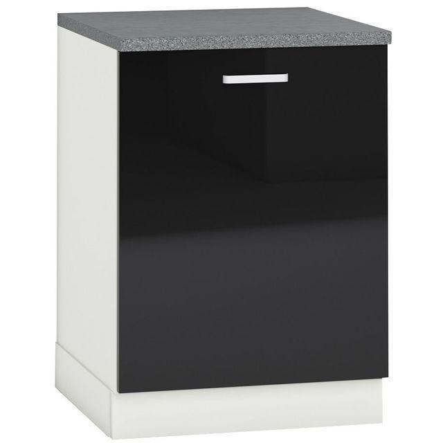 Comforium Meuble bas de cuisine design 60 cm avec 1 porte coloris blanc mat et noir laqué