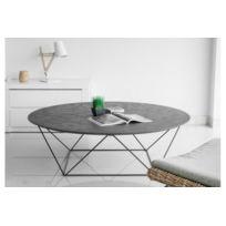 Declikdeco - Cette table basse Copa est parfaite pour rehausser le style de décoration de votre salon. Avec un empiétement en métal et un plateau circulaire en revêtement minéral, cette table basse donnera à votre pièce une touche précieuse d'originalité. Elle tro