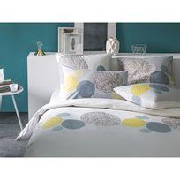 Matt&ROSE - Housse de couette 100% coton imprimé cercle motif fleuri japonisant gris Reveil Fruite - Bleu - 260x240cm