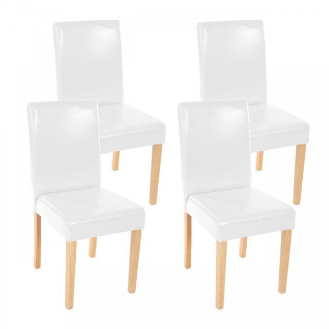 Autre Lot de 4 chaises de salle à manger simili-cuir blanc pieds clairs Cds04147