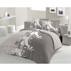 lovely home parure de couette mr mrs 100 coton 1 housse de couette 200x200 cm 2 taies d. Black Bedroom Furniture Sets. Home Design Ideas