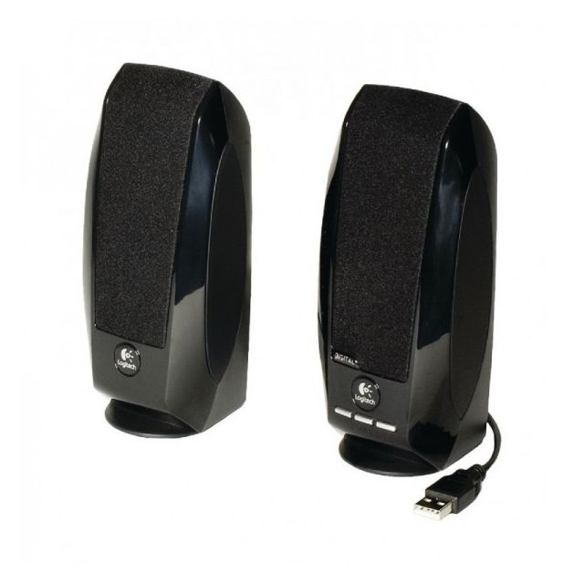 Logitech Set de Haut parleur S150 Oem 2.0 • 2.0 digital Usb stereo speaker system• Advanced digital Usb audio for premium sound clarity• No batteries or power supply required: a single Usb cable supplies both audio and power• Sturdy, compact design with c