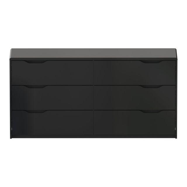 Alinéa - Look Commode noire laquée 6 tiroirs - pas cher ...