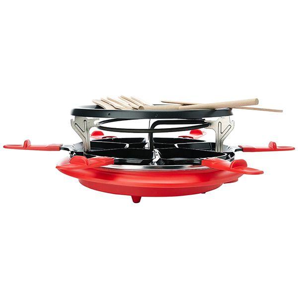HARPER - appareil à raclette 6 personnes 900w + gril + crêpière rouge - six red