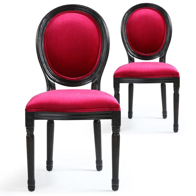 dbf7428ee15d03 MENZZO - Lot de 2 chaises Louis XVI Black Velours Fuschia - pas cher ...