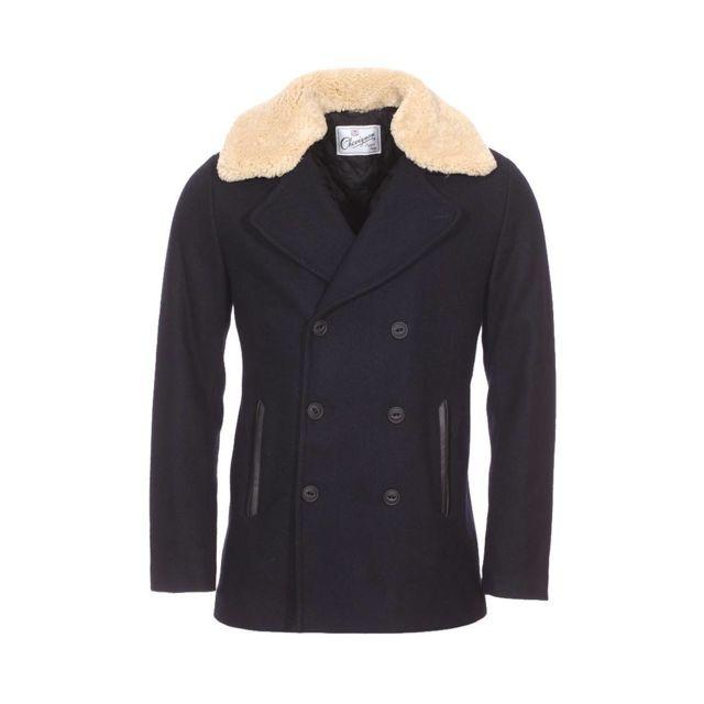 2dc664f9974 Chevignon - Caban Cab2 en drap de laine bleu marine - pas cher Achat   Vente  Manteau homme - RueDuCommerce
