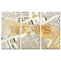 Declina - Toile triptyque coupures de journaux à vendre - Déco vintage