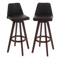 Mendler - 2x tabouret de bar Boras, chaise de comptoir, bois, similicuir, rotatif ~ marron, pieds foncés