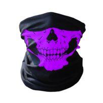 f9bef0feb2a50 Cagoule tour de cou tête de mort violet pour moto ski paintball