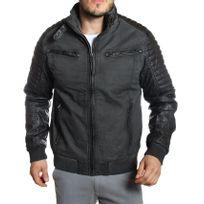 Carisma - Veste / Blouson hiver noir vintage avec simili-cuir