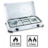 Kemper - Plaque de cuisson gaz portable 2 feux - 2600 w - blanc laqué