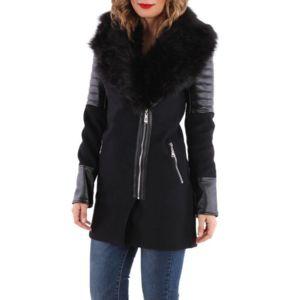 Manteau noir bimatiere