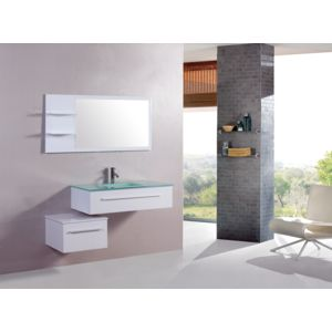 concept usine lysea blanc ensemble salle de bain 2 meubles 1 vasque 1 mirroir pas cher. Black Bedroom Furniture Sets. Home Design Ideas