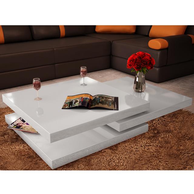 Vidaxl Table Basse Blanc Laque Carree Pivotante 3 Plateaux Pas