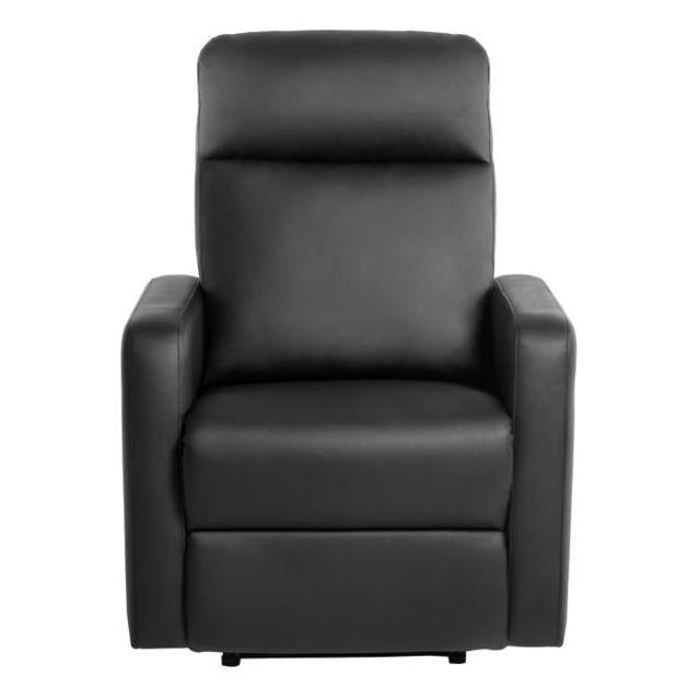 FAUTEUIL RELAX Fauteuil de relaxation manuel - Simili noir - Classique - L 76 x P 88 cm
