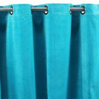 MonbeauRideau - Rideau Arthur à oeillets 150x260cm, Bleu • Velours de coton