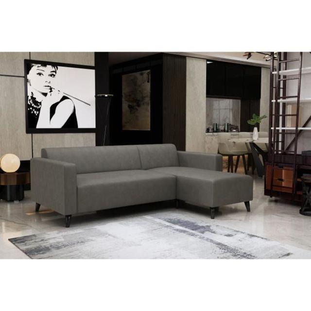 MARQUE GENERIQUE CANAPE - SOFA - DIVAN ENEKO Canapé d'angle fixe 3 places - Simili Gris - L 197 x P 138 x H 65 cm