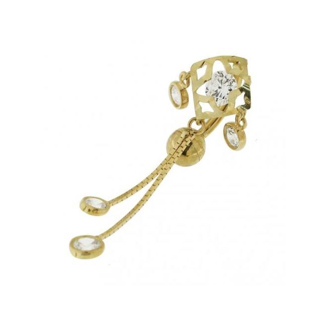 Sans Marque Bijou Pierre Précieuse Piercing de Nombril En Or Jaune creux 14 carats Zircons Cz Pendants en forme de Girafe