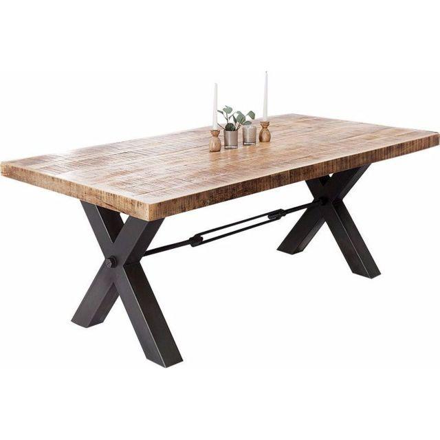 Comforium table manger design 200 cm en bois massif et pi tement en fer 200cm x 75cm x 200cm for Carrefour table a manger