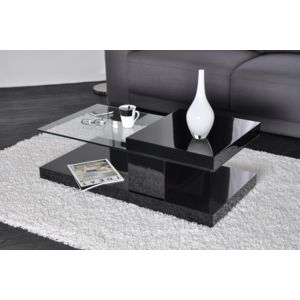 Neg 39 import table basse noire plateau pivotant verre - Table basse pivotant ...
