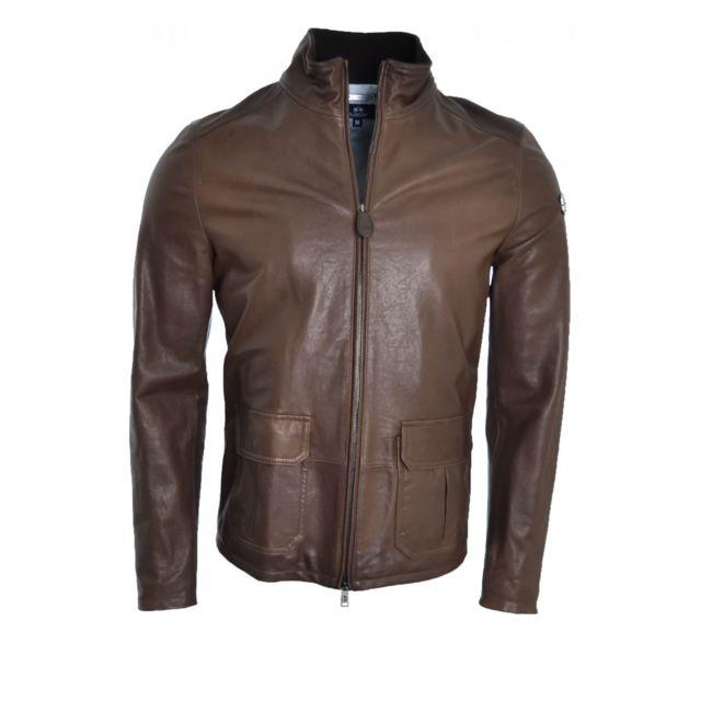 Manteau Veste en cuir La Martina marron pour homme