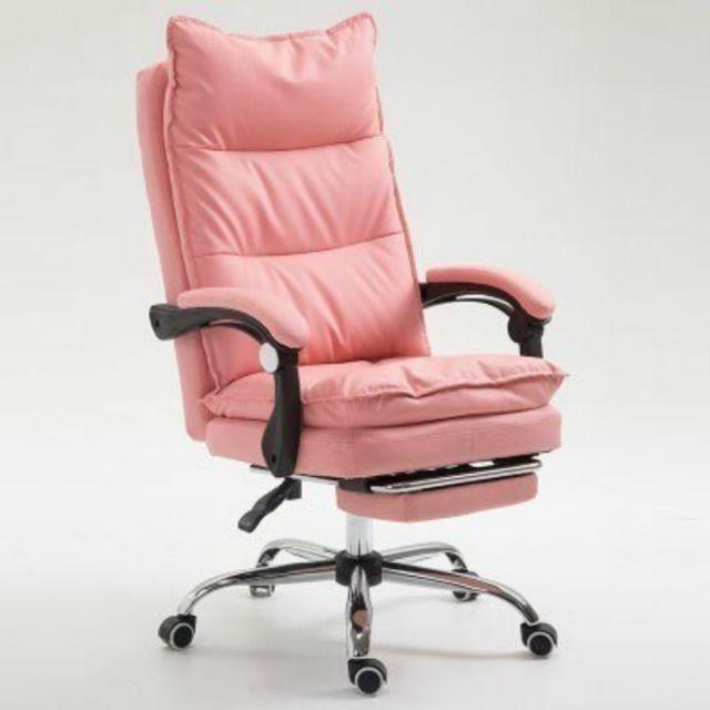 Wewoo Fauteuil de jeu ergonomique en cuir synthétique avec pieds acier pour chaise de Office E-sport rose