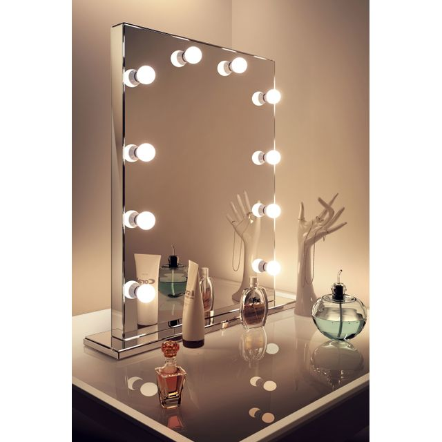 diamond x collection miroir de maquillage hollywood rond finition miroir led blanc froid. Black Bedroom Furniture Sets. Home Design Ideas