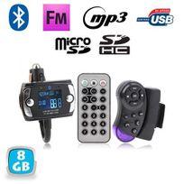 Yonis - Transmetteur Fm Bluetooth t_Ecute_l_Ecute_commande voiture kit main libre 8 Go