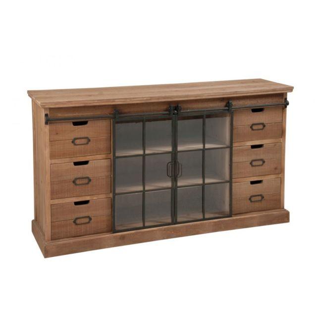 hellin buffet a porte coulissante bois metal bois fonc pas cher achat vente buffets. Black Bedroom Furniture Sets. Home Design Ideas