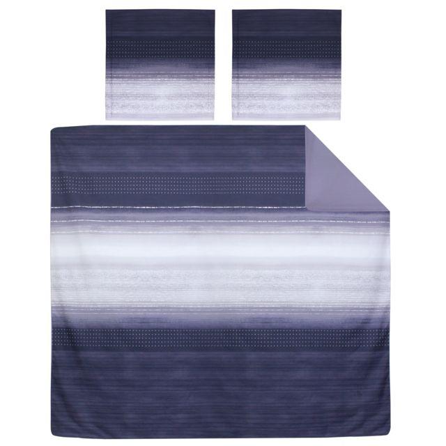 linnea parure de lit 200x200 cm percale pur coton jazz bleu 3 pi ces multicolore nc pas. Black Bedroom Furniture Sets. Home Design Ideas