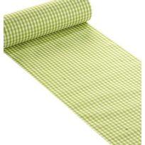 1001DECOTABLE - Chemin de table vichy vert en tissu x 5mètres
