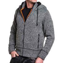 good looking later high fashion Gilet homme gris côtelé et fourré à capuche