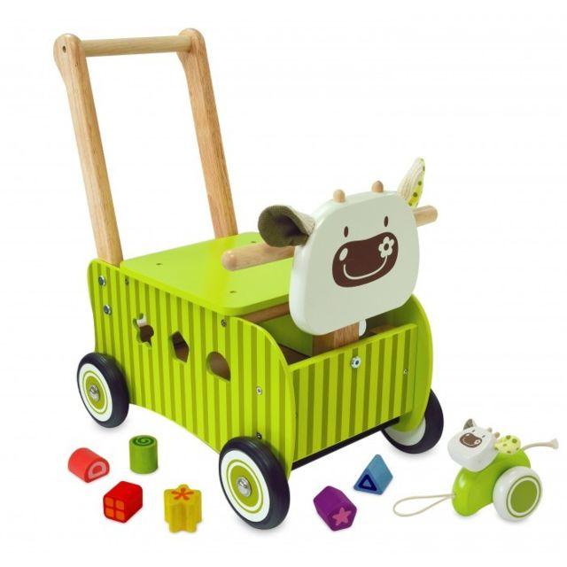 I M Toy - Pousseur porteur vert vache en