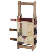 Mendler - Porte-bouteilles de vin Bordeaux, casier de rangement en bois pour 3 bouteilles, style shabby