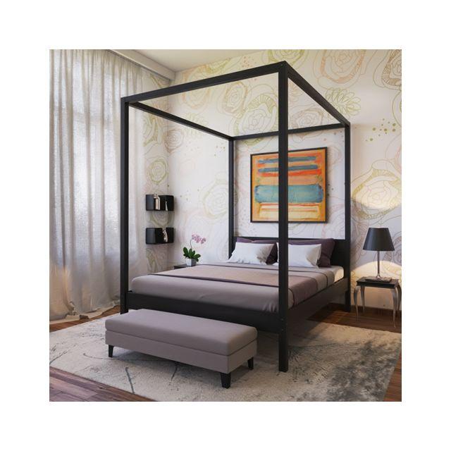 no name lit double baldaquin romance 140x190 noir pas cher achat vente structures de. Black Bedroom Furniture Sets. Home Design Ideas