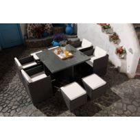 Magnifique Salon de jardin Florida 8 Gris/Blanc : salon encastrable 8 personnes en résine tressée grise poly rotin