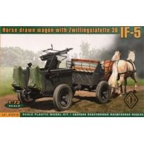 Ace Authentic - Ace 72510 Horse Drawn Wagon With Zwillingslafette 36 If-5 1:72 Plastic Kit Maquette