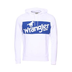 Wrangler - Sweat à capuche en coton blanc à imprimé bleu