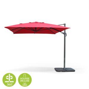 alice 39 s garden parasol d port rectangulaire 3x4m inclinable et rotatif rouge st jean de luz. Black Bedroom Furniture Sets. Home Design Ideas
