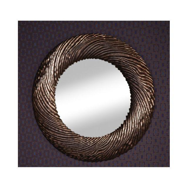 Deknudt Mirrors Miroir Design Flow Copper Gothique Contemporain Rond Cuivré 102 cm