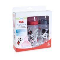 Nuk - Lot de 3 biberons Mickey 300 ml silicone