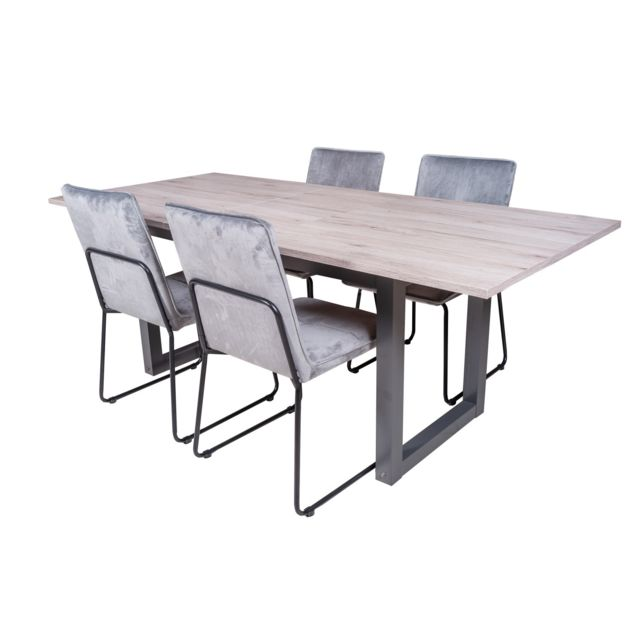 TOPDECO Table extensible brooklyn + 4 chaises melbourne velours gris
