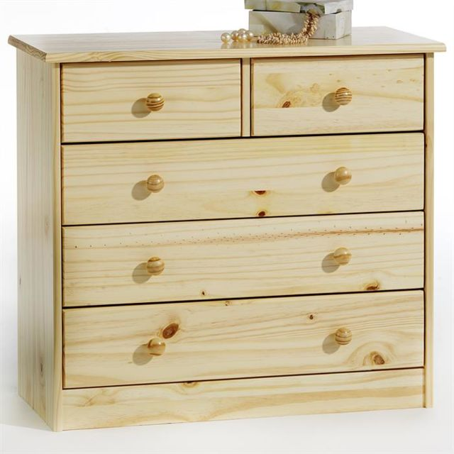 IDIMEX Commode RONDO 5 tiroirs pin massif vernis naturel