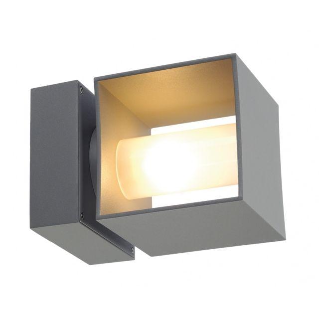 Slv Square Turn, applique extérieure, gris argent, Qt14 max. 42W, Ip44