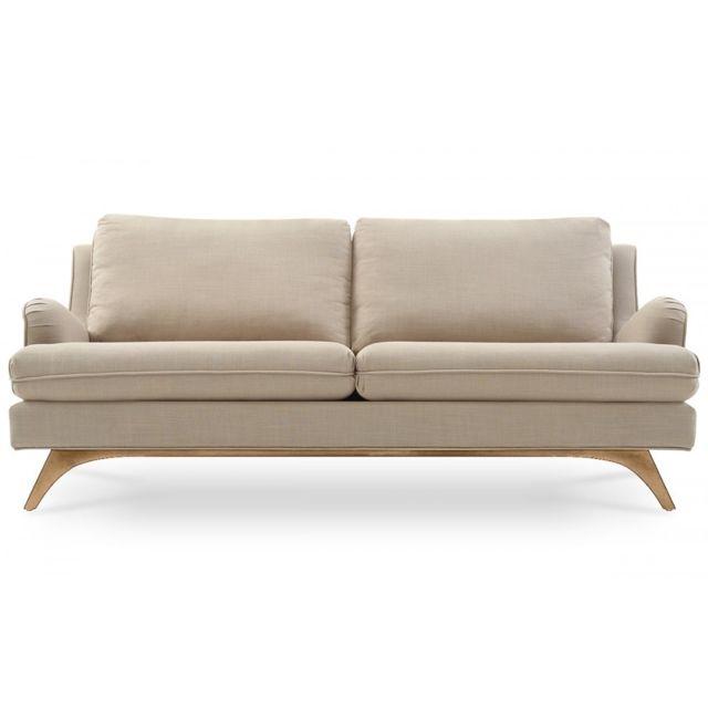 Remarquable Canapé 3 places en lin beige