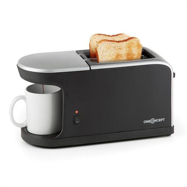 ONECONCEPT Quickie 2-en-1 Toaster double fente & Mini machine à café avec tasse